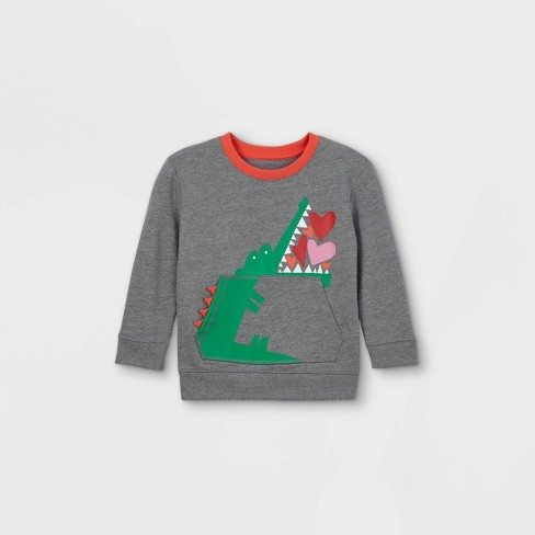 Toddler Boys' Valentine's Day Alligator Hearts Fleece Pullover Sweatshirt with Elbow Patches - Cat & Jack™ Gray - image 1 of 2