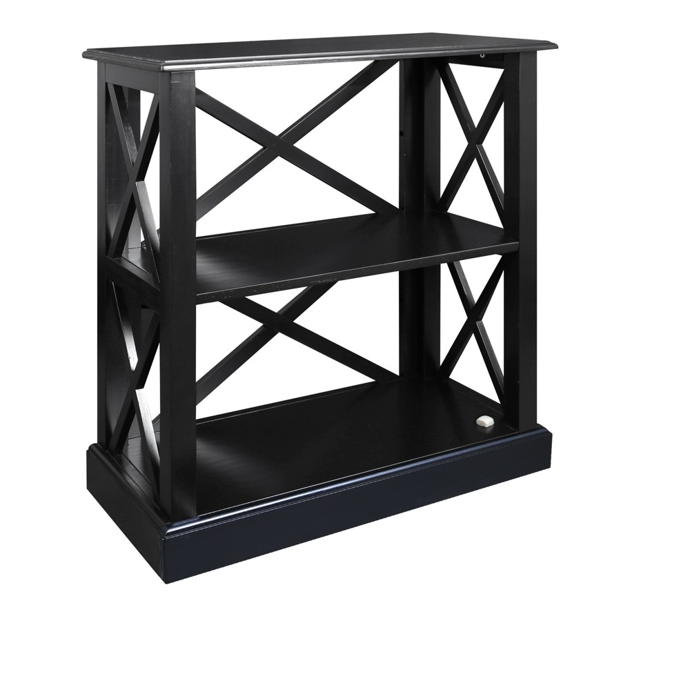 "Image of ""33"""" Jackson 3 Shelf Bookcase with Concealed Drawer Black - Flora Home"""