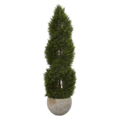 4ft Double Pond Cypress Spiral Artificial Tree In Sand Planter - Nearly Natural