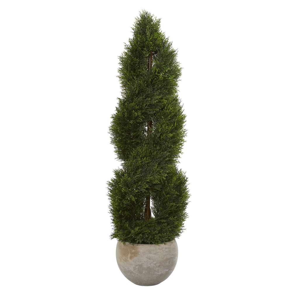 4ft Double Pond Cypress Spiral Artificial Tree In Sand Planter - Nearly Natural, Green