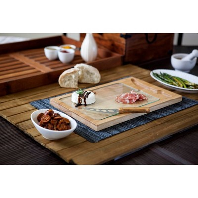 Rubberwood and Bamboo Iron Cheese Cutting Board - Picnic Time