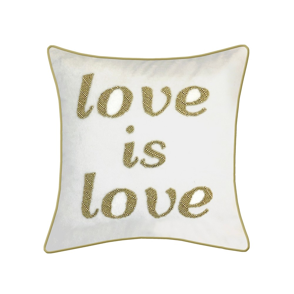 Image of 'Love is Love' Beaded Square Throw Pillow Cream - Edie@Home