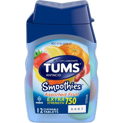 TUMS Extra Strength Antacid Smoothies Assorted Fruit Chewable Tablet 12ct