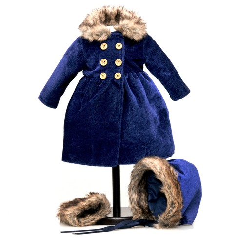 "The Queen's Treasures 1800s Style Blue Velvet Coat, Hat for 18"" Dolls - image 1 of 6"