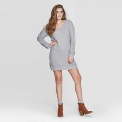 Women's Long Sleeve V-Neck Lace-Up Sleeve Sweater Mini Dress - Xhilaration™