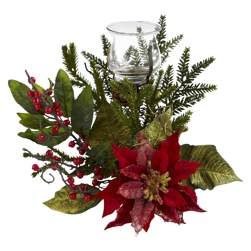 Nearly Natural Poinsettia Candelabrum Price