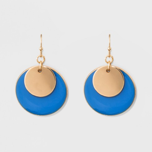 Drop Earrings - A New Day™ Gold/Blue - image 1 of 3