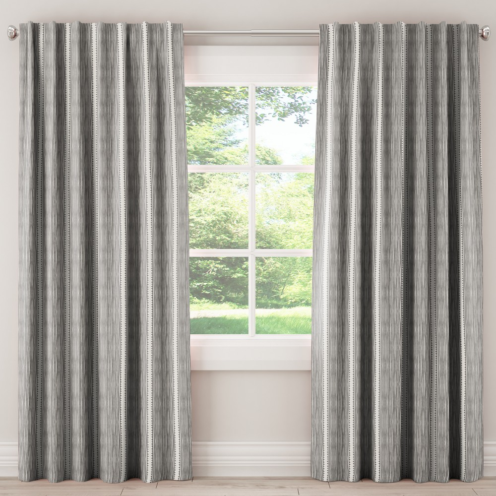 Unlined Curtains Bennett Stripe Charcoal 84L - Skyline Furniture, Gray