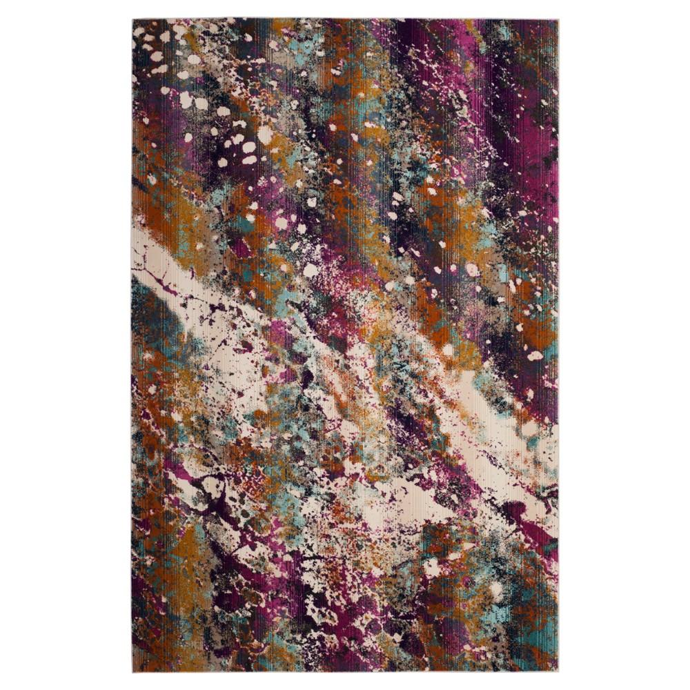 Cream/Magenta (Ivory/Pink) Splatter Loomed Area Rug 6'7