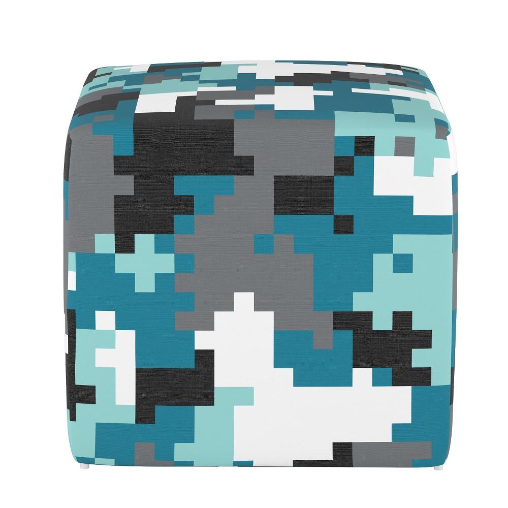 Kids Cube Ottoman Digital Camo Blue - Pillowfort