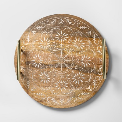 Round Mango Wood Embellished Serving Tray with Handles 14  Brown/Gold - Opalhouse™