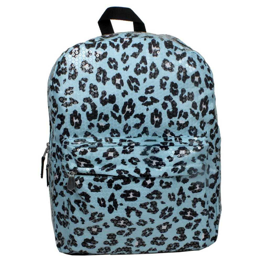 Image of Accessory Innovation 16 Sparkle and Roar Leopard Print Backpack - Blue, Turquoise/Black