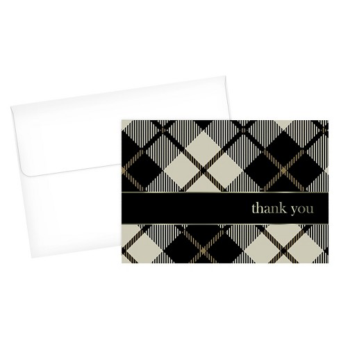 Black Plaid Thank You Cards - 24ct - image 1 of 1
