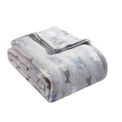 Printed Pattern Bed Blanket Gray Dog - ED Ellen DeGeneres