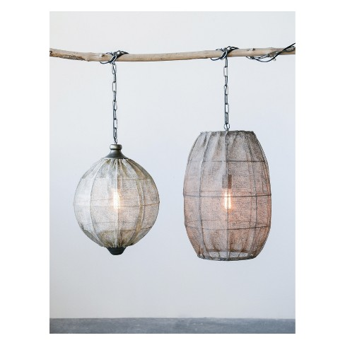 "Pendant Lamp with Jute Screen Shade 24""H - 3R Studios - image 1 of 2"