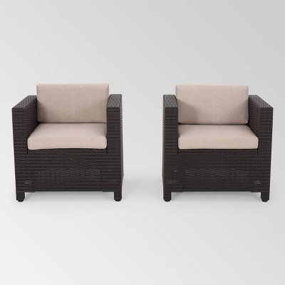 Waverly 2pk Faux Wicker Club Chairs - Brown/Beige - Christopher Knight Home