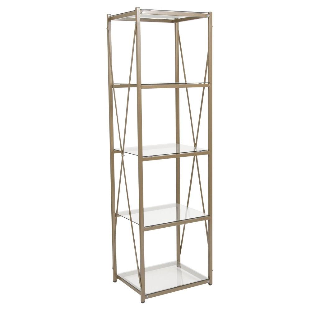 Mar Glass Storage Shelf Gold - Riverstone Furniture