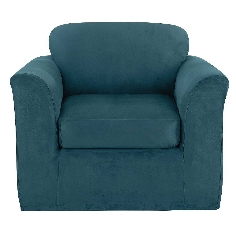 Ultimate Stretch Suede 2pc Chair Slipcover Peacock Blue - Sure Fit