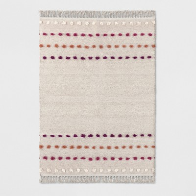 Tan Striped with Poms Woven Fringed Area Rug 5'X7' - Opalhouse™