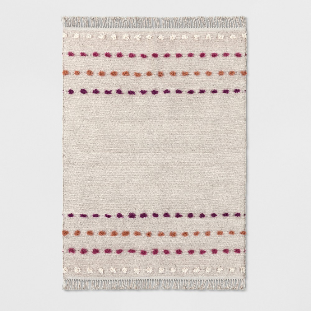 Tan Striped with Poms Woven Fringed Area Rug 5'X7' - Opalhouse, Beige