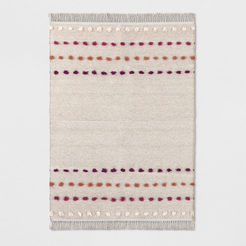 Tan Striped With Poms Woven Fringed Rug - Opalhouse™ - image 1 of 4
