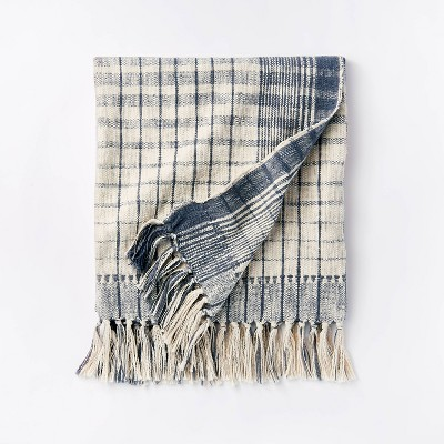 Woven Cotton Plaid Throw Blanket Blue/Cream - Threshold™ designed with Studio McGee