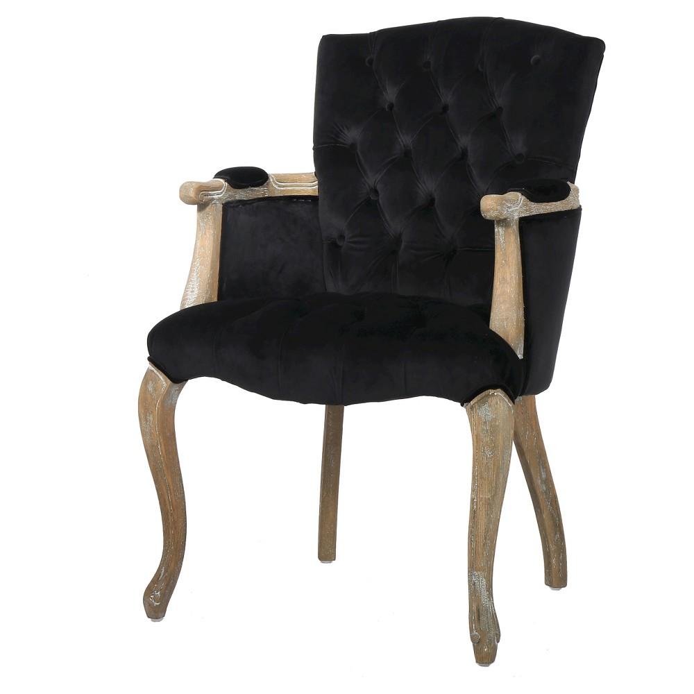 Moira New Velvet Arm Dining Chair - Black - Christopher Knight Home