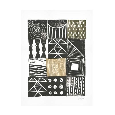 "35"" x 47"" Courtney Prahl 'Block Print V Sand' Unframed Wall Canvas - Trademark Fine Art"
