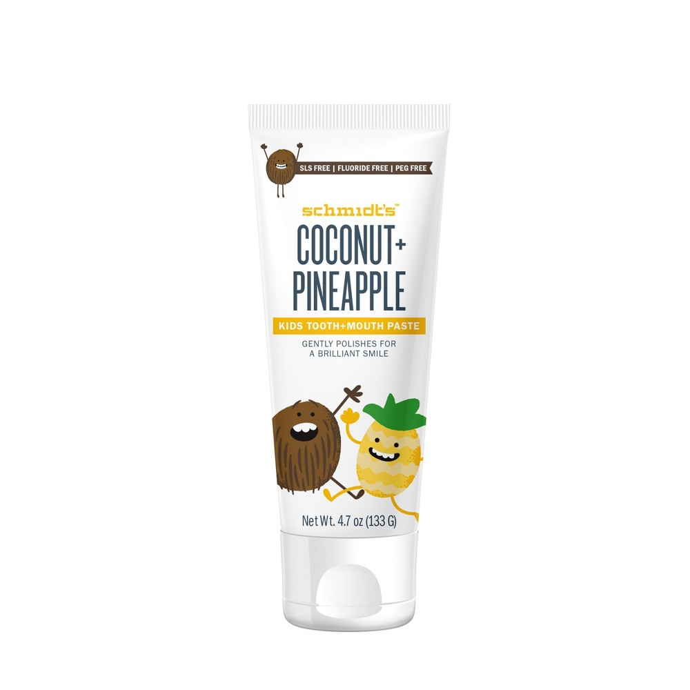 Image of Schmidt's Coconut + Pineapple Fluoride-Free Mouth and Toothpaste for Kids - 4.7oz