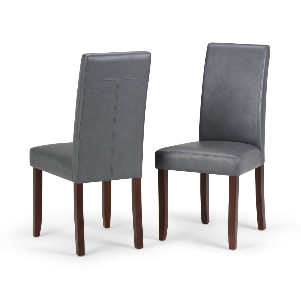 Normandy Parson Dining Chair Set of 2 Stone Gray Faux Leather - Wyndenhall