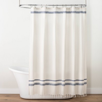 Embroidered Dobby Stripe Shower Curtain Sour Cream/Blue - Hearth & Hand™ with Magnolia