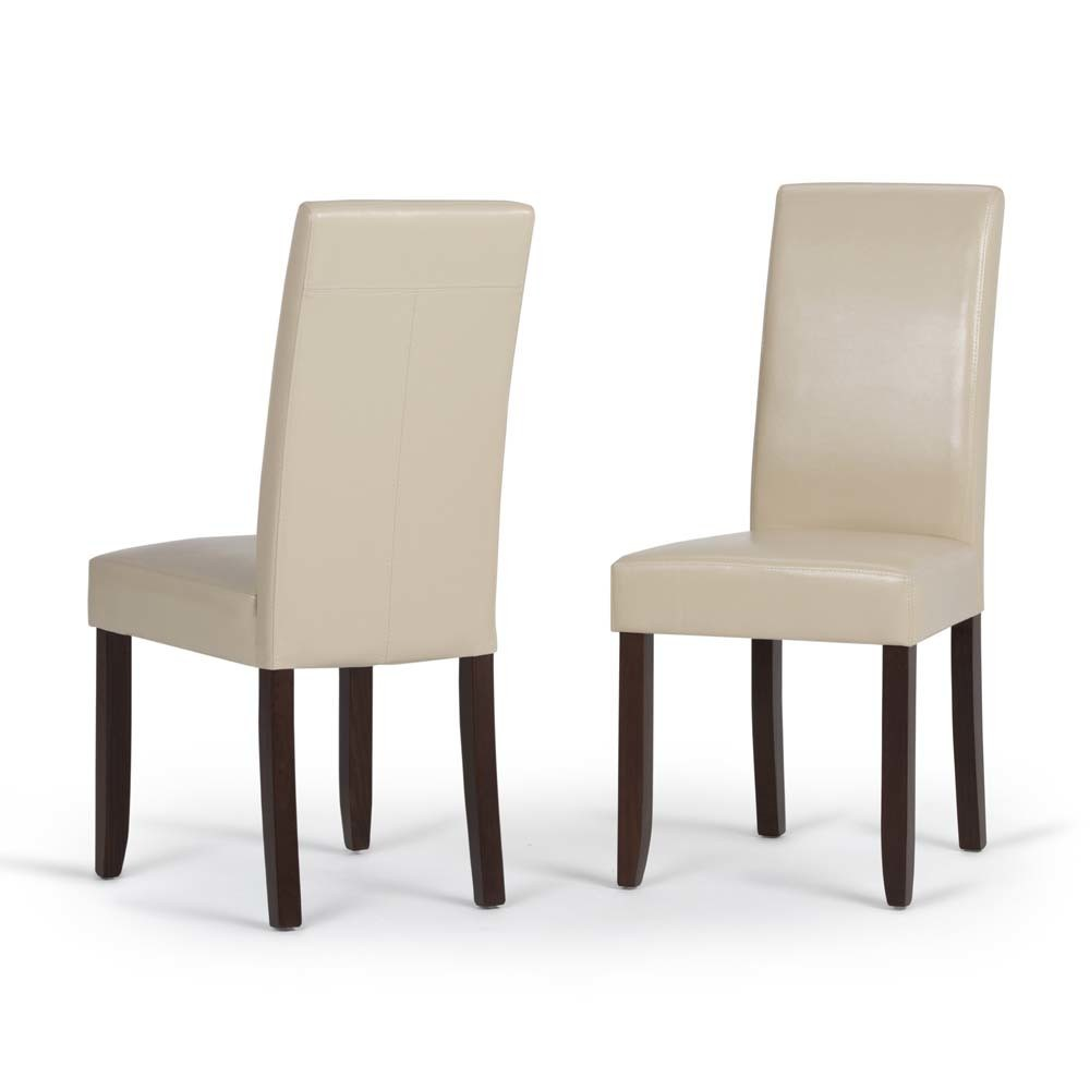 Normandy Parson Dining Chair Set of 2 SatCream Faux Leather - Wyndenhall, Ivory