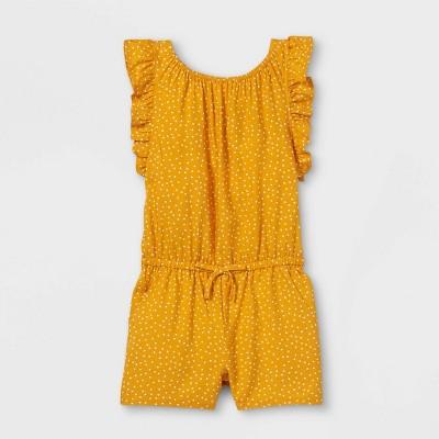 Toddler Girls' Dot Ruffle Sleeve Romper - Cat & Jack™ Mustard