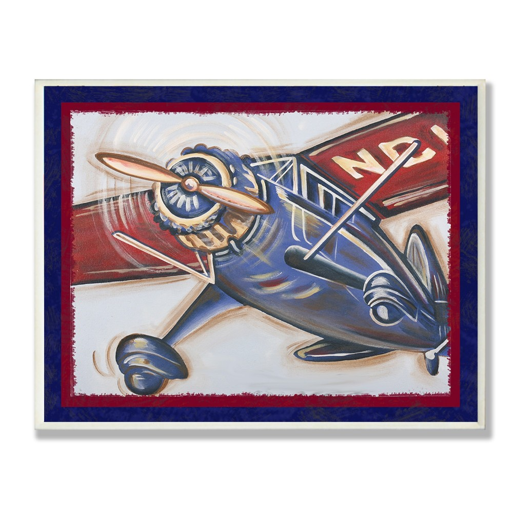 Blue And Red Vintage Plane Wall Plaque Art (12.5x18.5