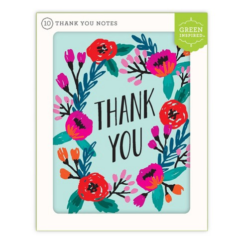Green Inspired 10ct Flowering Wreath Thank You Cards - image 1 of 3