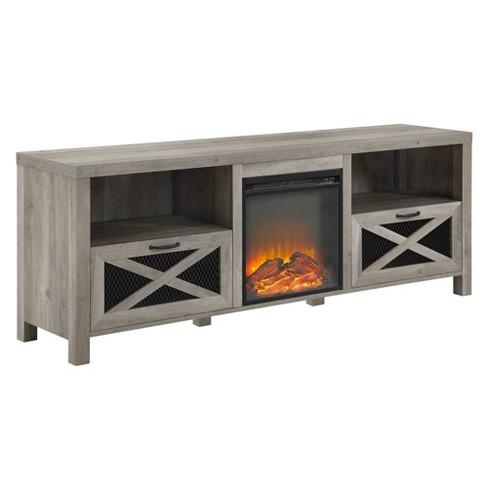 "70"" Rustic Farmhouse Fireplace TV Stand  - Saracina Home - image 1 of 4"