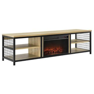 75u0022 Elias TV Stand with Fireplace Oak - Room & Joy