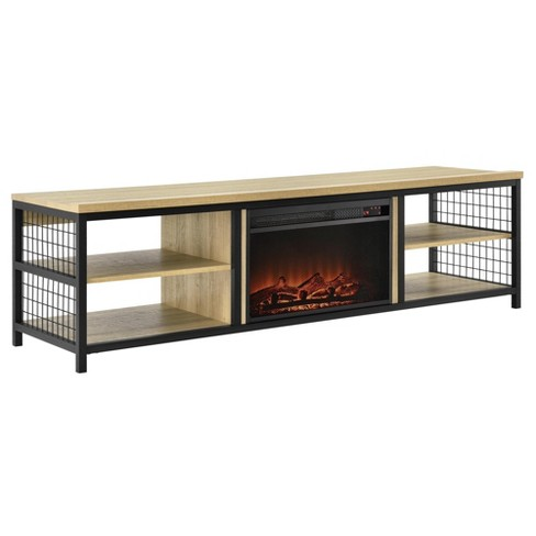 """75"""" Elias TV Stand with Fireplace Oak - Room & Joy - image 1 of 4"""