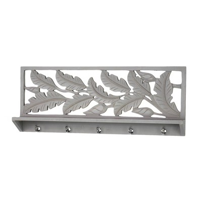 Hand Carved Floating Wall Shelf Dove Gray - Crystal Art Gallery