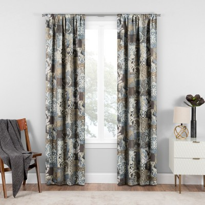 Chiswick Blackout Window Curtain Spa/Patchwork/Floral 37X84 - Eclipse™