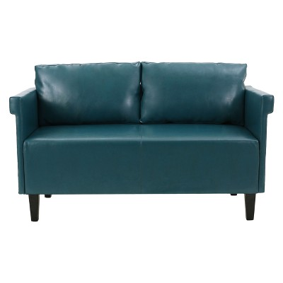 Bellerose Faux Leather Settee - Teal - Christopher Knight Home