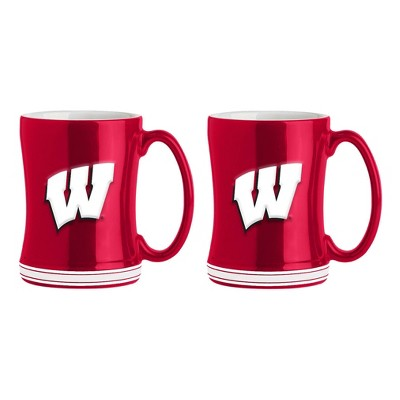 NCAA Wisconsin Badgers 2 Pack Sculpted Relief Style Coffee Mug - Red/ White (15 oz)