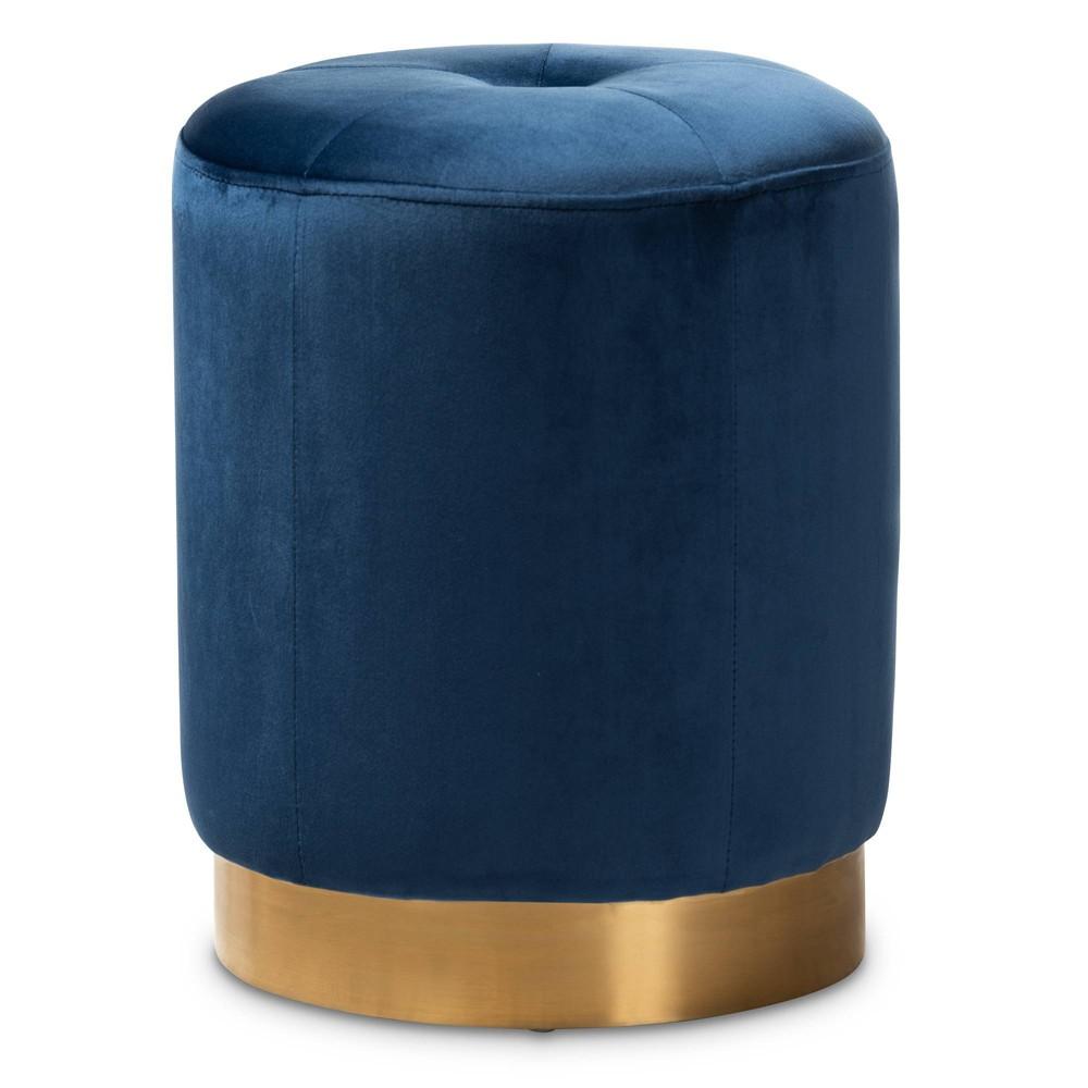 Alonza Velvet Ottoman Blue - Baxton Studio