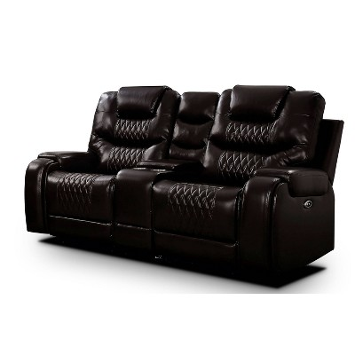 Edansy Upholstered Loveseat with 2 Power Recliner, USB Plug and Console - HOMES: Inside + Out