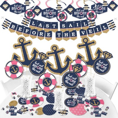 Big Dot of Happiness Last Sail Before The Veil - Nautical Bachelorette and Bridal Shower Supplies - Banner Decoration Kit - Fundle Bundle