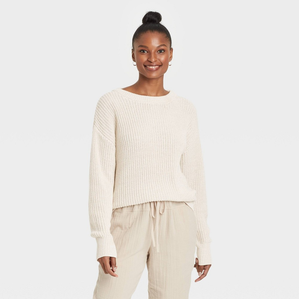 Women 39 S Crewneck Textured Pullover Sweater Universal Thread 8482 Cream M