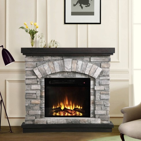 36 Freestanding Electric Fireplace Gray Home Essentials Target