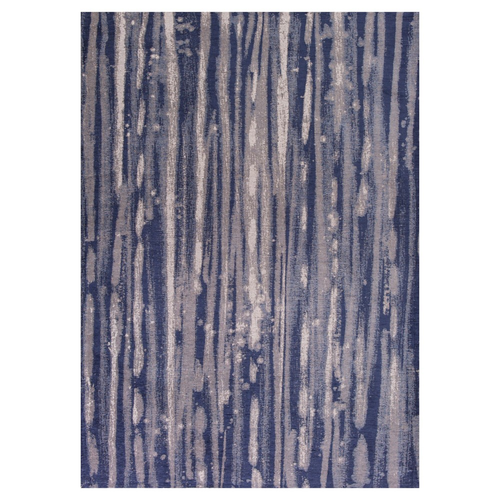 Navy (Blue) Stripe Pressed/Molded Accent Rug 20