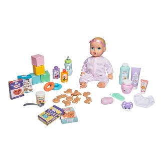 Perfectly Cute Baby Doll Deluxe 36pc Feed & Play Set - Blonde with Blue Eyes
