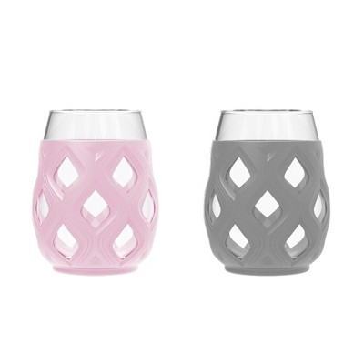 Ello Cru 2pk 17oz Wine Glass Gift Set Pink/Gray